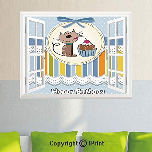 Wall Decor Stickers,Present Wrap Like Image Chocolate Cake Cat Party,35.4X 23.6inch,Creative Window View Home DecorBaby Blue and ()