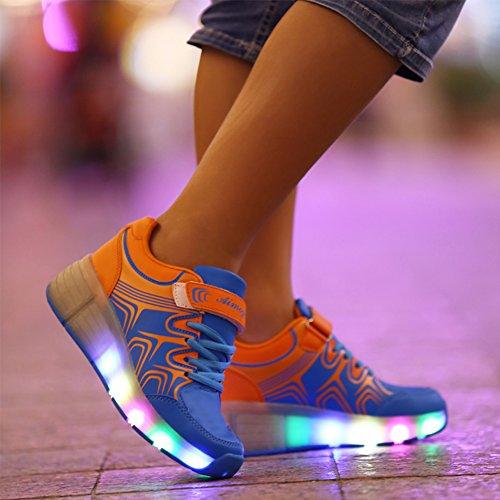 SGoodshoes Kinder Herren Damen LED Leuchtet Sneakers mit einem Cooly Roller Skateboard Schuhe Sport Turnschuhe ohne USB Blau 31EU