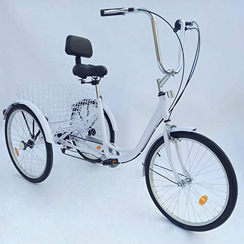 Adjustable Handlebars Large Cruiser Seat and Rear Folding Basket MOMOJA 24 6-Speed Adult Tricycle Front and Rear Fenders