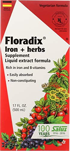Floradix Liquid Iron Supplement + Herbs 17 Oz - All Natural, Vegetarian, Vitamin C, Non Constipating - Supports Energy & Red Blood Cell Production for Women & Men - for Anemia
