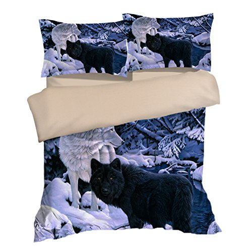 Amazing White and Black Wolf Cotton Microfiber 3pc 90''x90'' Bedding Quilt Duvet Cover Sets 2 Pillow Cases Queen Size by DIY Duvetcover
