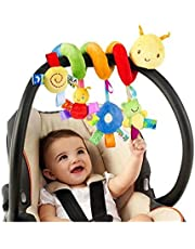 Bed Around Rattle Bell Cartoon,Baby Spiral Activity Hanging Toys Stroller Toys Cart Seat Pram Toy with Ringing Bell