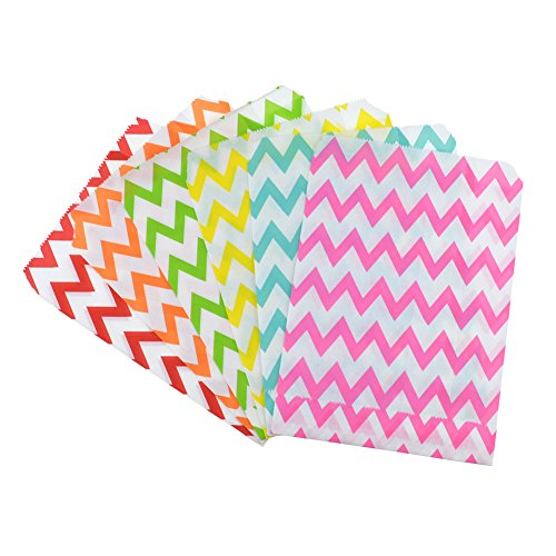 Rantanto 48 Pcs Food Safe Biodegradable Paper Treat Sacks, Party Favors Bags (BZ0002 Chevron) (Sacks Treat)