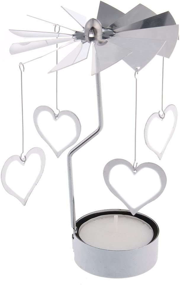 Windspeed Stainless Steel DIY Heart Shape Rotating Candle Holder Wedding/Party Christmas Home Decor Tealight Candleholder