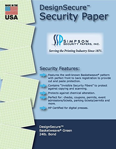 DesignSecure 24 lb. Bond Green - Basketweave Security Paper 11 x 17 (500 Sheets) ()