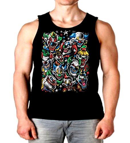 Cool Tank Top Colored Clown Stack Liquid Blue Mens Muscle Shirt S-2XL (Black, 2XL) ()