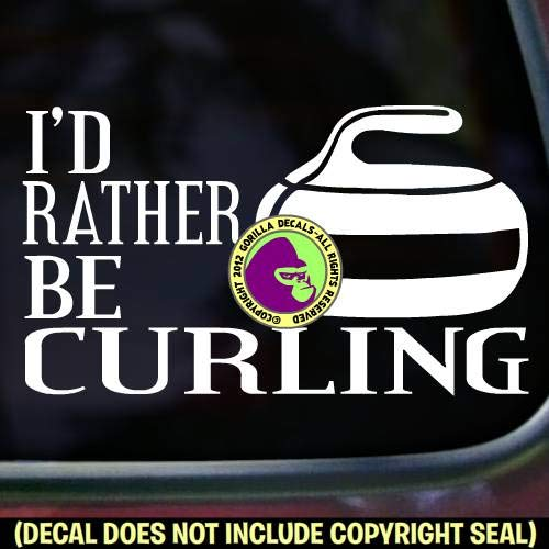 ID RATHER BE CURLING Stone Sport Game Player Vinyl Decal Sticker A
