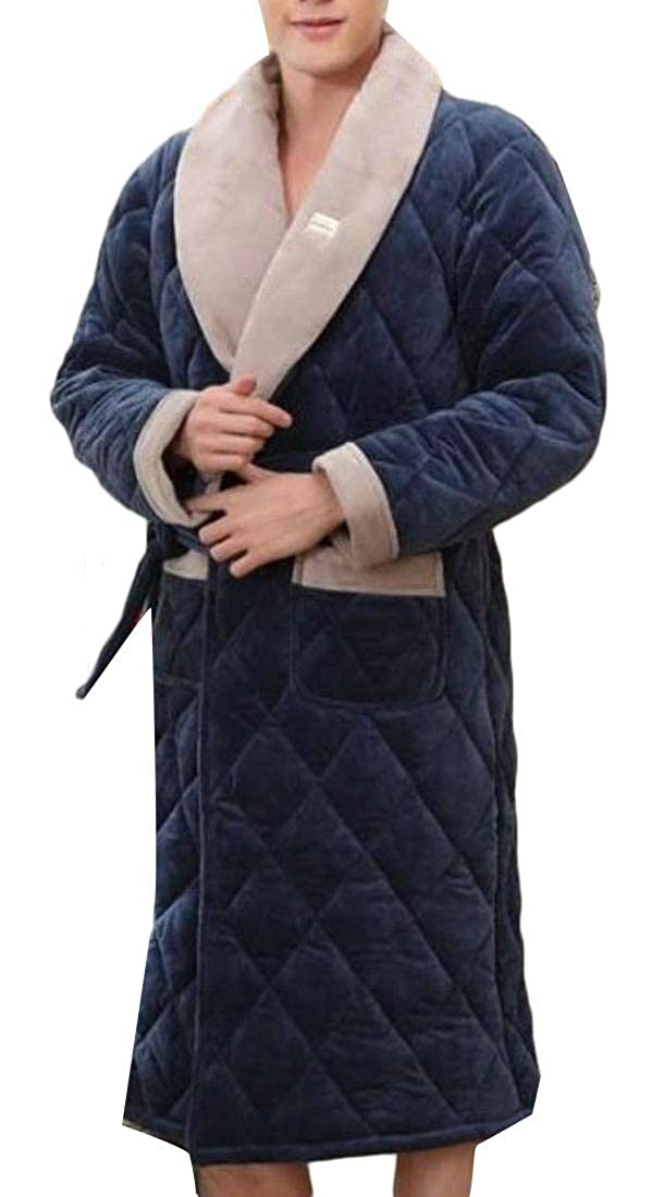Cromoncent Mens Winter Thick Flannel Quilted Lounge Loungewear Bathrobe Robe