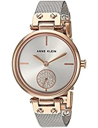 Women's Swarovski Crystal Accented Rose Gold-Tone and Silver-Tone Mesh Bracelet Watch