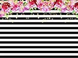 black and white decorations Qian Photography Backdrops Black and White Stripe Background Pink Rose Flower Birthday Party Wedding Photo Studio Booth 7X5FT 012