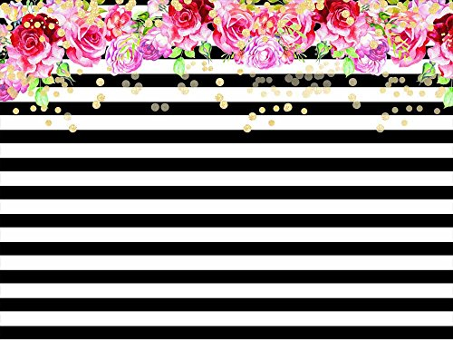 Qian Photography Backdrops Black and White Stripe Background Pink Rose Flower Birthday Party Wedding Photo Studio Booth 7X5FT 012 -