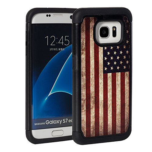 S7 Case, Galaxy S7 Case,Rossy Retro Vintage Old USA American Flag Design Shock-Absorption Drop Protection Hybrid Dual Layer Armor Defender Full Body Protective Case Cover for Samsung Galaxy - Retro Flag