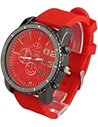 Mens Large Face Wrist Watch Unisex Silicone Band Reloj Para Hombre Red Dial SW1091RD