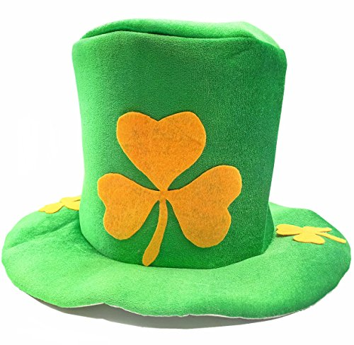 St.Patrick's Day Top Hat | Irish Green Shamrock Leprechaun, Adult Costume ()