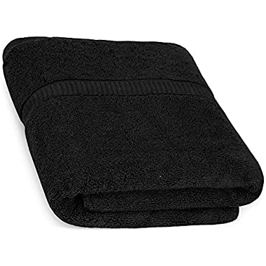 Cotton Bath Towels (Black, 30 x 56 Inch) Luxury Bath Sheet Perfect for Home, Bathrooms, Pool and Gym Ringspun Cotton by Utopia Towels
