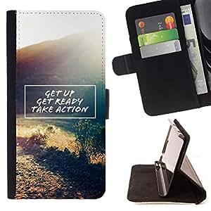Ihec-Tech / Negro Flip PU Cuero Cover Case para Samsung ALPHA G850 - Passez à l'action citation de motivation