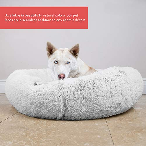 Best Friends by Sheri Luxury Shag Fur Donut Cuddler (30x30 Zippered, Frost) – Medium Round Dog & Cat Cushion Bed, Removable Shell, Warming, Cozy - Prime, Machine Washable - Medium Pets Up to 45lbs by Best Friends by Sheri (Image #4)