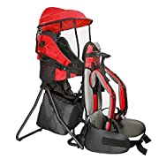 Clevr Cross Country Baby Backpack Hiking Carrier with Stand and Sun Shade Visor Child Kid toddler, Red | Lightweight - 5lbs