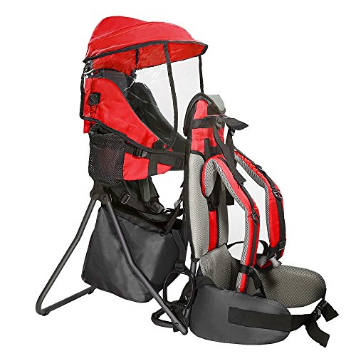 Clevr Premium Cross Country Baby Backpack Hiking Child Carrier with Stand and Sun Shade Visor Kid toddler, Red | Lightweight – 5lbs | 1 Year Limited Warranty
