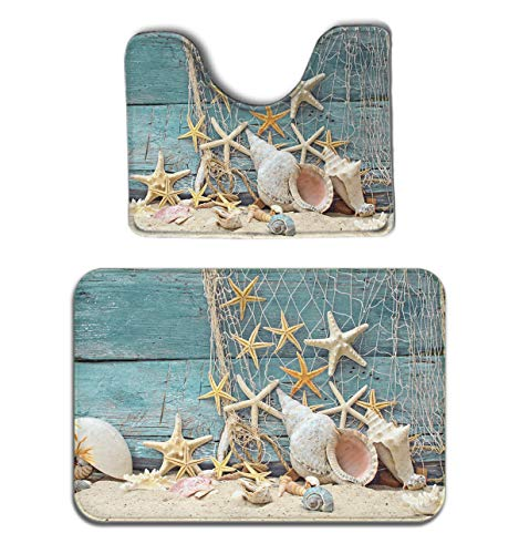 JACINTAN Memory Foam 2 Piece Bathroom Rug Set - Seashells Starfish - Skidproof Bath Mat and Toilet Seat Contour Cover Rug