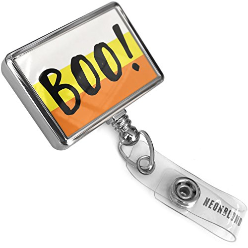 Retractable Plastic ID Badge Reel Boo! Halloween Candy Corn with Bulldog Belt Clip On Holder Neonblond