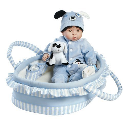 Paradise Galleries Reborn Baby Boy Doll Finn & Sparky, 9-Piece Gift Set, 17 inch Doll in GentleTouch Vinyl & Weighted Body, Safety Tested for Age - Designer Fab Dog