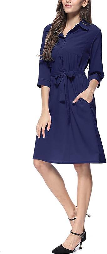 D.B.M Vestido de Camisa Casual con Cuello Tipo Polo, Manga 3 ...