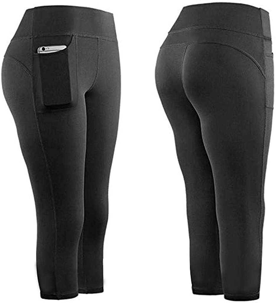 UJUNAOR Yoga Pants with Pockets Leggings Womens High Waist Sports Gym Fitness Workout Running Athleisure Tights Power Stretch Trousers Full Length Pants Cropped Pants 5 Points Pants