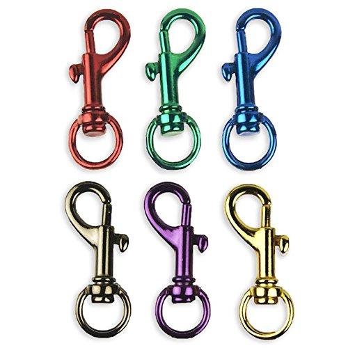 6 Bright Colors Aluminum Spring Snap Hook Set 1-1/2