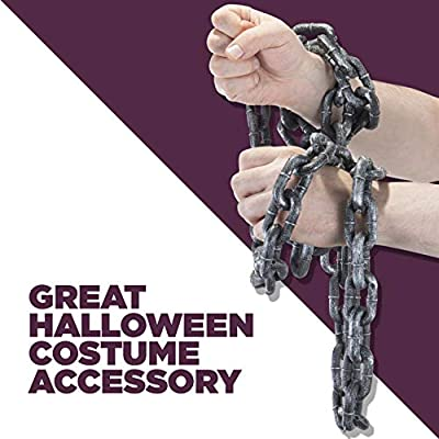 Prextex Halloween Silver & Black 6.5 Ft. Halloween Small Plastic Chain Link- Shackles for Best Costume Accessory or Halloween Décor Prop: Toys & Games