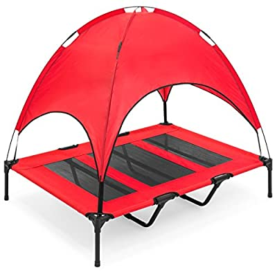 """Best Choice Products 48"""" Raised Mesh Cot Cooling Dog Bed w/ Canopy Tent, Travel Bag"""