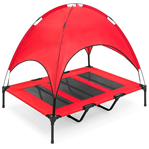 (Best Choice Products 48in Raised Mesh Cot Cooling Dog Bed w/Removable Canopy Tent, Travel Bag - Red)