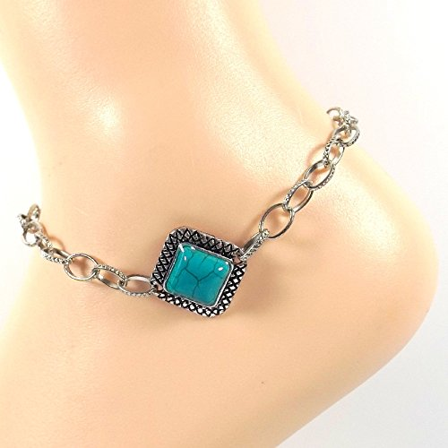 Imitation Turquoise and Silver Anklet Blue Ankle Bracelet Stainless Chain Choice Turquoise Collection All sizes ()