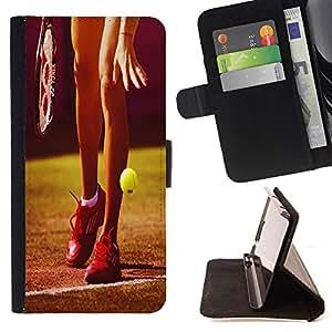 Super Marley Shop - Funda de piel cubierta de la carpeta Foilo con cierre magn¨¦tico FOR Samsung Galaxy Note 4 SM-N910 N910 IV- Tennis Ball Ace