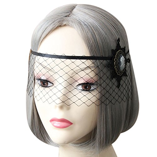 ARTSTORE Retro Women Black Lace Veil Headband,Black Snowflake Venetian Girl Cutout Half Face Sexy Eyemask for Halloween Masquerade Party Fancy Dress,Black - Steampunk 1920s
