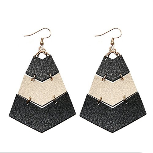 (Layered Leather Earrings Handcrafted Unique Geometric Jewelry for Women (Black and White))