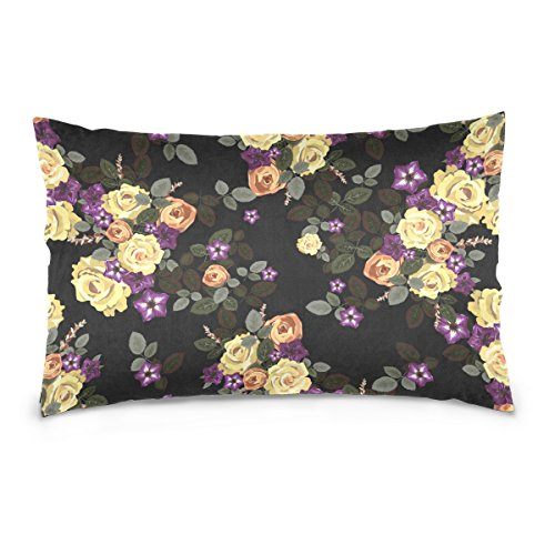 Bouquet Top Pillow (Top Carpenter Bouquet Of Yellow Roses Velvet Oblong Lumbar Plush Throw Pillow Cover/Shams Cushion Case - 16x24in - Decorative Invisible Zipper Design for Couch Sofa Pillowcase Only)