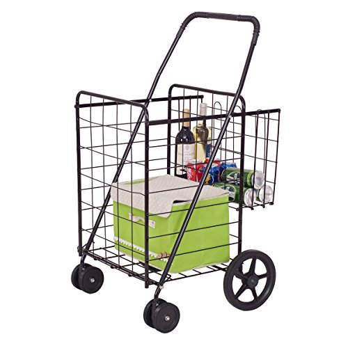 (Folding Shopping Cart Jumbo Basket Grocery Laundry Travel w/ Swivel Wheels Allblessings)