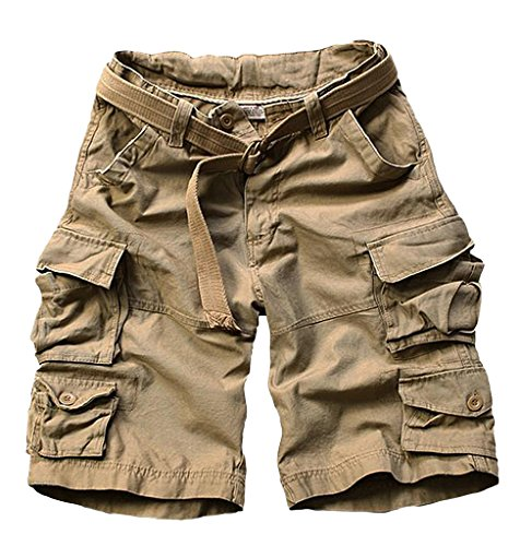 J-SUN-7 Men's Casual Loose Beach Cargo Shorts(Grey,US 2XL/Asian2XL)