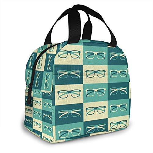 FINEREBO Eyeglasses in Vintage Style Hipster Cool Reusable Lunch Bags Double Layer,3D Printed Insulated Cooler Lunch Bag Camping Picnic Box Tote Bag Lunch Organizer Lunch Holder Lunch ()