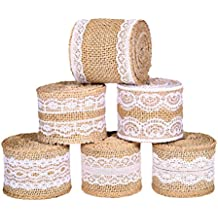 Burlap Ribbon Roll with Lace ZoraSelena 13Yards/468 inch Natural Burlap Craft Ribbon White Lace Rolls for Wedding Decorations Lace Arts and Crafts Burlap and Lace 78.7 Inch Each