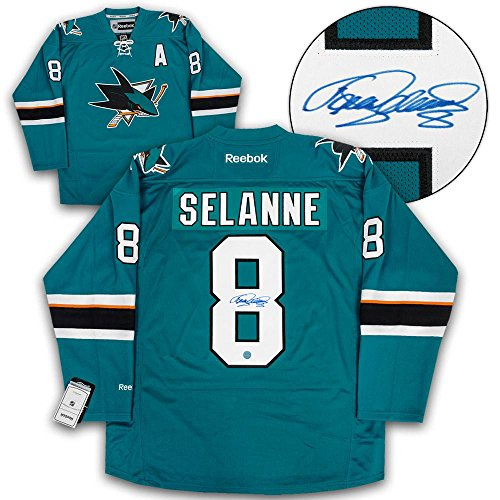 Signed Teemu Selanne Jersey - Reebok Premier - Autographed NHL Jerseys