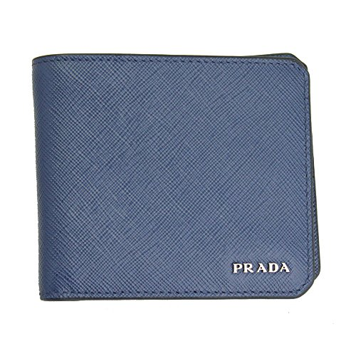 Prada Mens Blue Saffiano Corner Leather Bi-fold Wallet 2mo513 Baltico