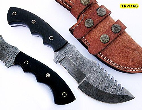 - TR-1166 Custom Handmade Damascus Steel 10 Inches Tracker Knife - Perfect Grip Black Micarta Handle