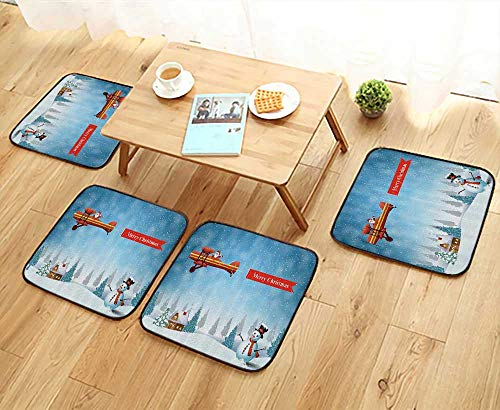 Printsonne Universal Chair Cushions Santa in Plane with Merry Xmas Banner Flying Over Forest with Snowman Personalized Durable W15.5 x L15.5/4PCS Set