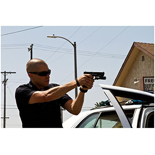 End of Watch 8 Inch x 10 Inch Photo Jake Gyllenhaal Sunglasses Next to Car Pointing Gun Next to Baptist Church - Sunglasses Next