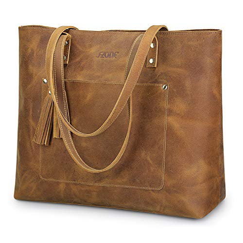 S-ZONE Vintage Genuine Crazy Horse Leather Shoulder Bag Handbag Purse with Tassels(Light Brown) -