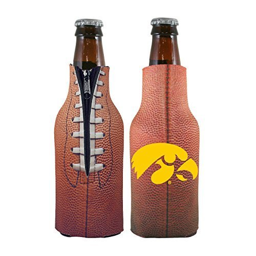Iowa Hawkeyes Tailgate Cooler (NCAA College 2014 Team Logo Football Look Bottle Coolie Holder Koozie Cooler 2-Pack (Iowa Hawkeyes))