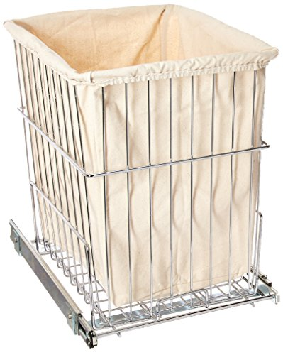 Rev-A-Shelf HRV-1520 S CR Cabinet Floor Mounted Pullout Wire Clothes Laundry Hamper Basket with Liner and Full Extension Slides, Chrome - MAXIMIZE YOUR SPACE: Conveniently keep dirty clothes off the bathroom and laundry room floor with this pullout hamper for vanity applications DURABILITY AND ELEGANCE: Heavy-duty chrome wire hamper with metal frame and extra sturdy slide system extends fully and supports up to 100 pounds; Designed of heavy gauge plated metal wire construction EASY INSTALLATION: Easily mounts to cabinet floor with easy 4-screw installation; door mount kit available (sold separately) - laundry-room, hampers-baskets, entryway-laundry-room - 51v2Wbqb6rL -