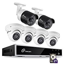 Loocam 8CH 1080P HD-TVI Video DVR Security Camera System, DVR Recorder with 2TB HDD and 6x 2MP(1920TVL) Bullet cameras(2) & Dome Cameras(4), Motion Detection & Email Alert, Intuitive Android & iOS APP